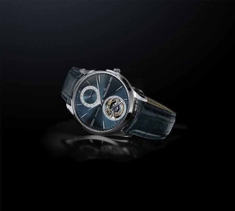 積家超薄大師系列陀飛輪琺瑯腕表,18K白金表殼搭配藍色扭索紋琺瑯表盤,限量50只...