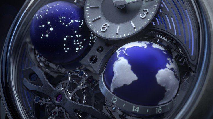 金橋系列COSMOS腕表最大特色就是雙球體設計,左為星空、右為地球型日夜顯示,傳...
