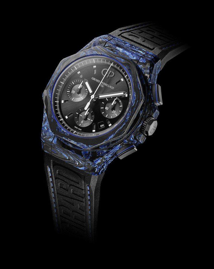 芝柏表今年在桂冠系列中,首度採用玻璃碳製成表殼,推出首款計時碼表。圖/GIRAR...