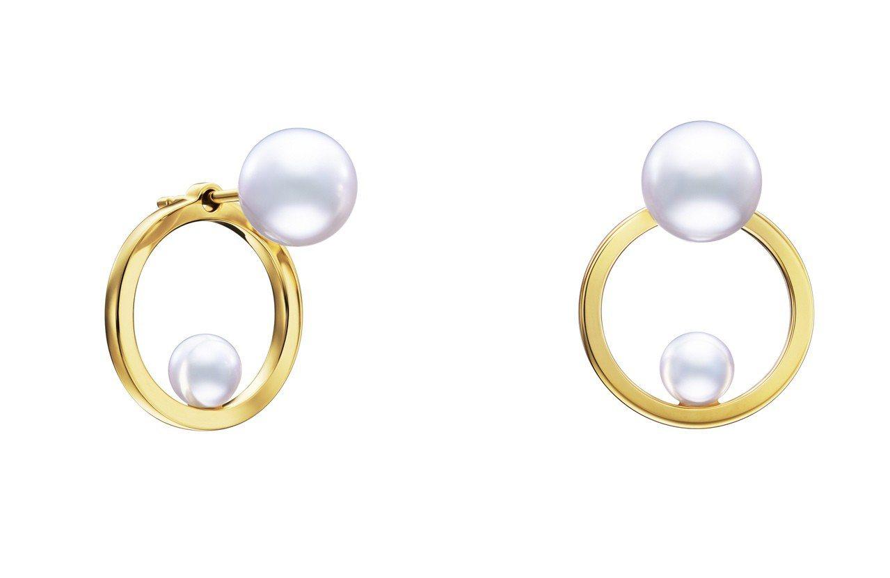 TASAKI kinetic系列珍珠黃K金耳環,18K黃金與阿古屋珍珠,約73,...