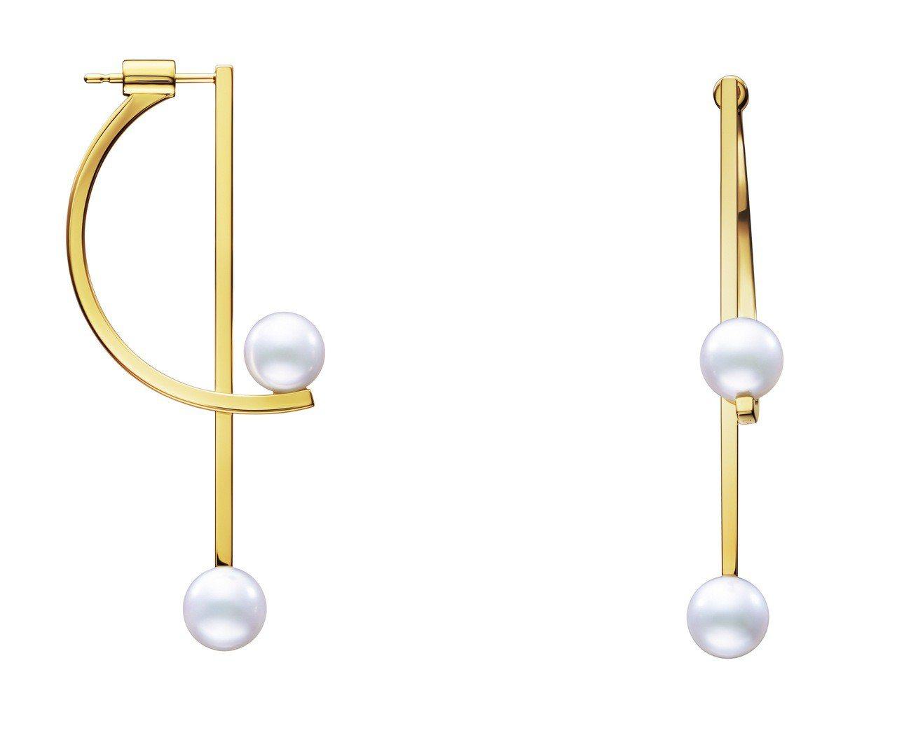 TASAKI kinetic珍珠黃K金耳環,18K黃金與阿古屋珍珠,約12萬8,...