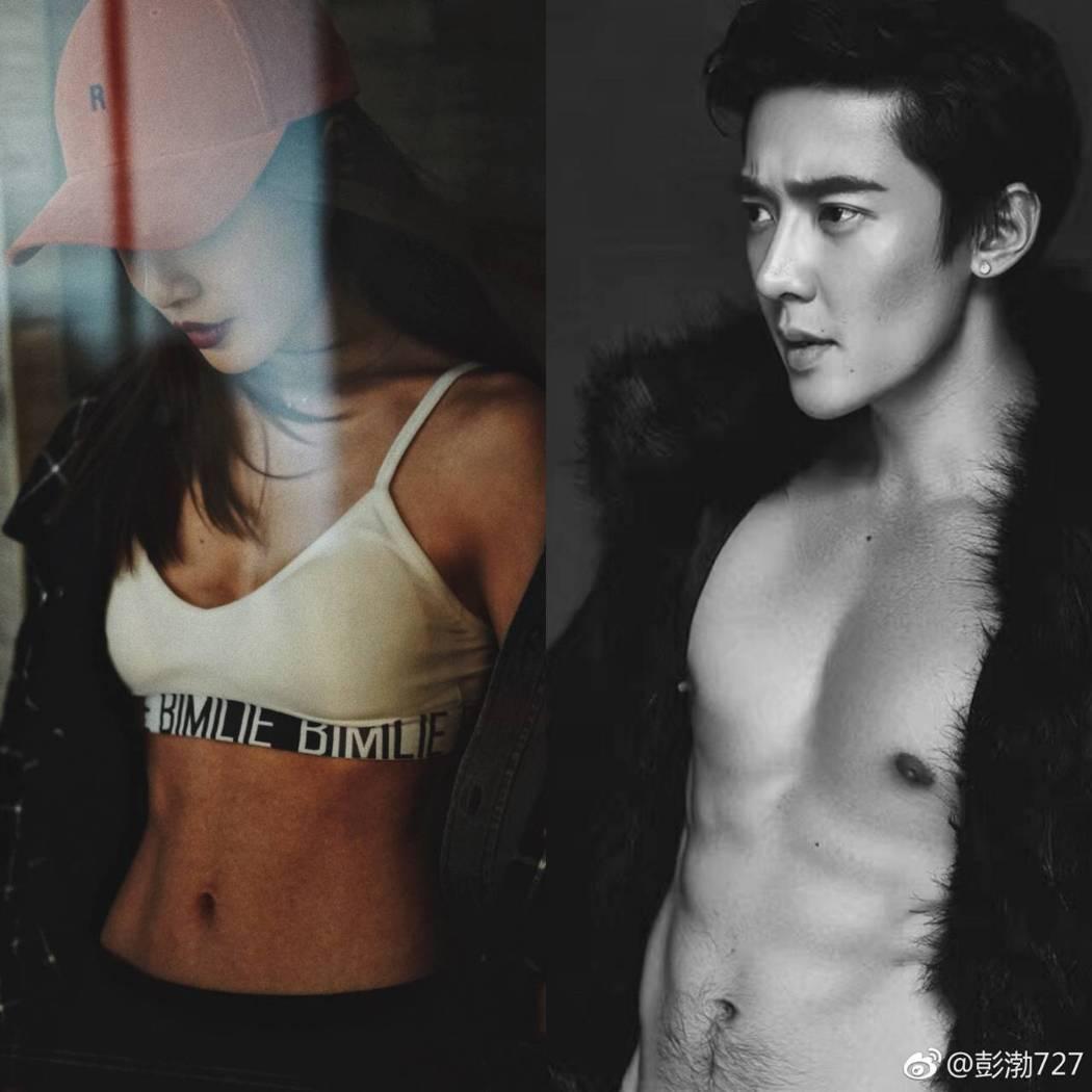 彭渤(左)PO出與肖向飛露腹肌的照片,邀約一起健身。圖/摘自微博