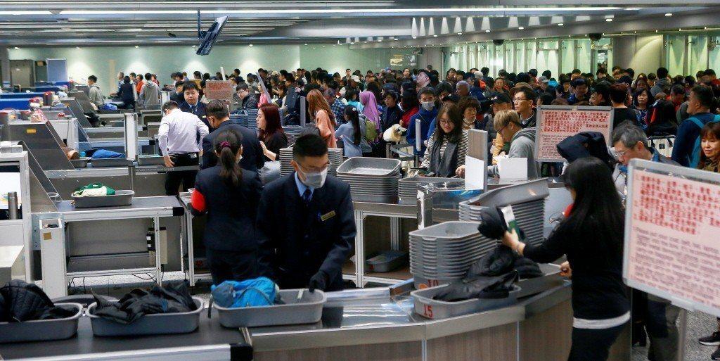示意圖。圖為記者拍攝桃機二航廈安檢處。 圖片來源/聯合報系