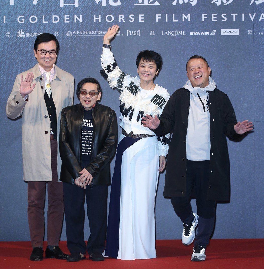 曾志偉(右起)、張艾嘉、泰迪羅賓、黃百鳴在2017年出席金馬獎。圖/聯合報系資料...