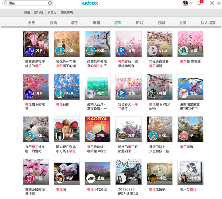 KKBOX站內有超過百張櫻花相關主題歌單。圖/KKBOX提供