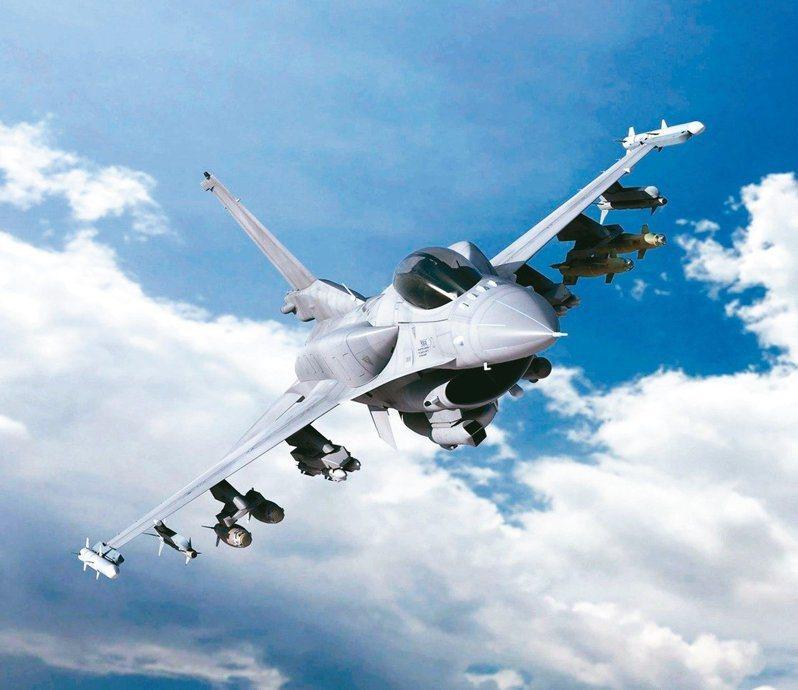 洛克希德馬丁公司公布的F-16V(F-16 Block70/72)想像圖,機背有適型油箱。圖/洛克希德馬丁提供