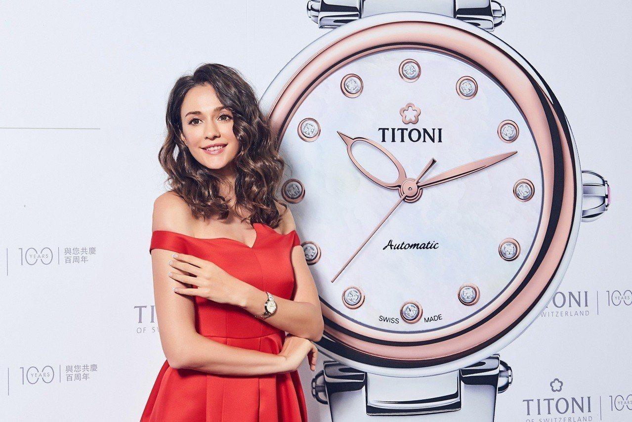 成為台灣人的瑞莎,將首場活動獻給梅花表的新款腕表上市記者會。圖/TITONI提供