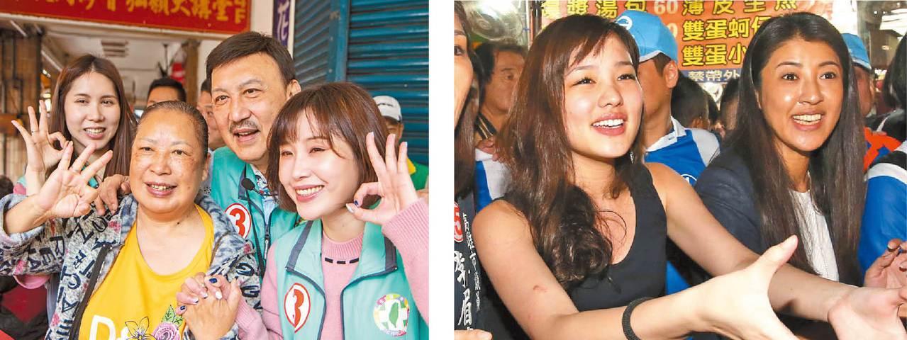 余天兩位女兒余筱萍、余苑綺(左),上午7時半就到台北橋捷運站為余天拉票。新北市三...