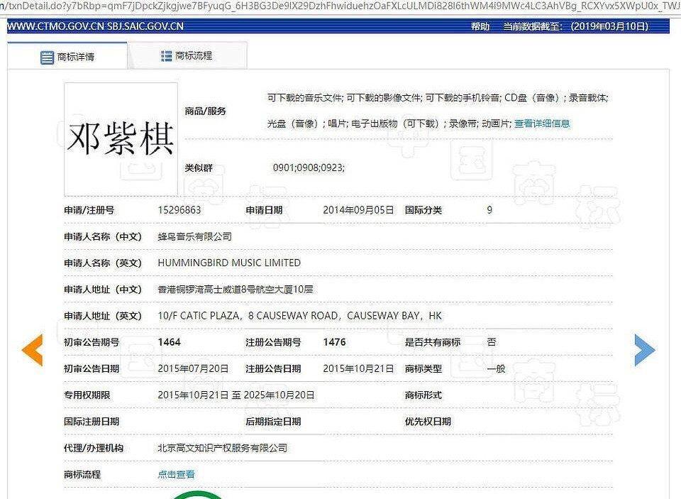 網友找到蜂鳥音樂將鄧紫棋名字登記註冊商標。 圖/擷自微博