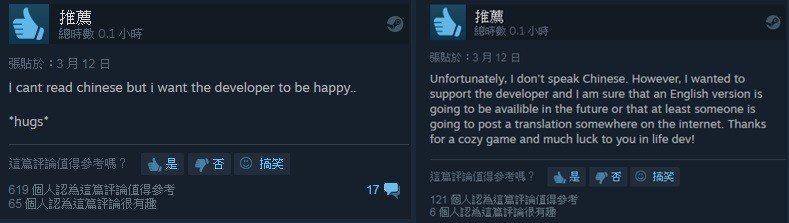 國外網友購買遊戲給予支持與肯定/圖:Steam