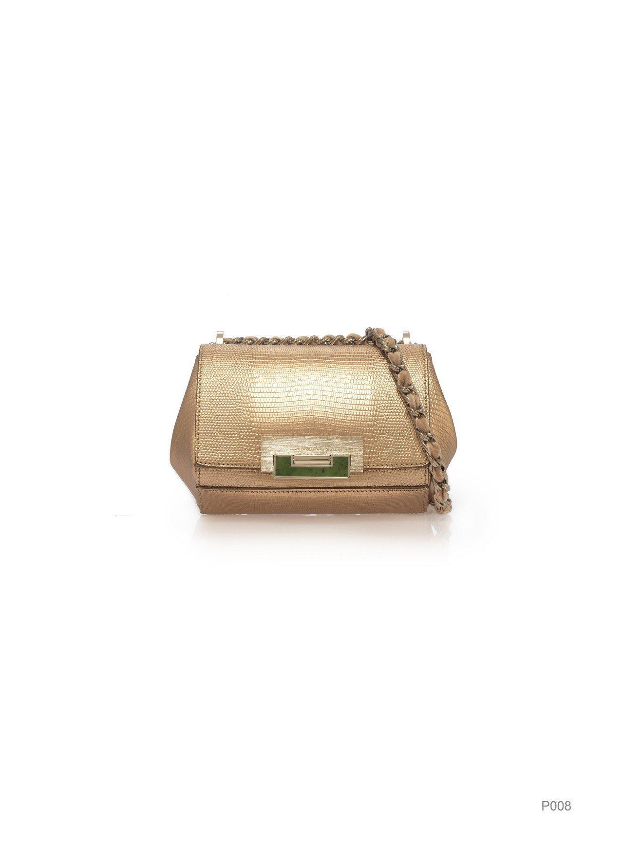 金色鍊帶肩背小包,特價12,540元。圖/夏姿提供