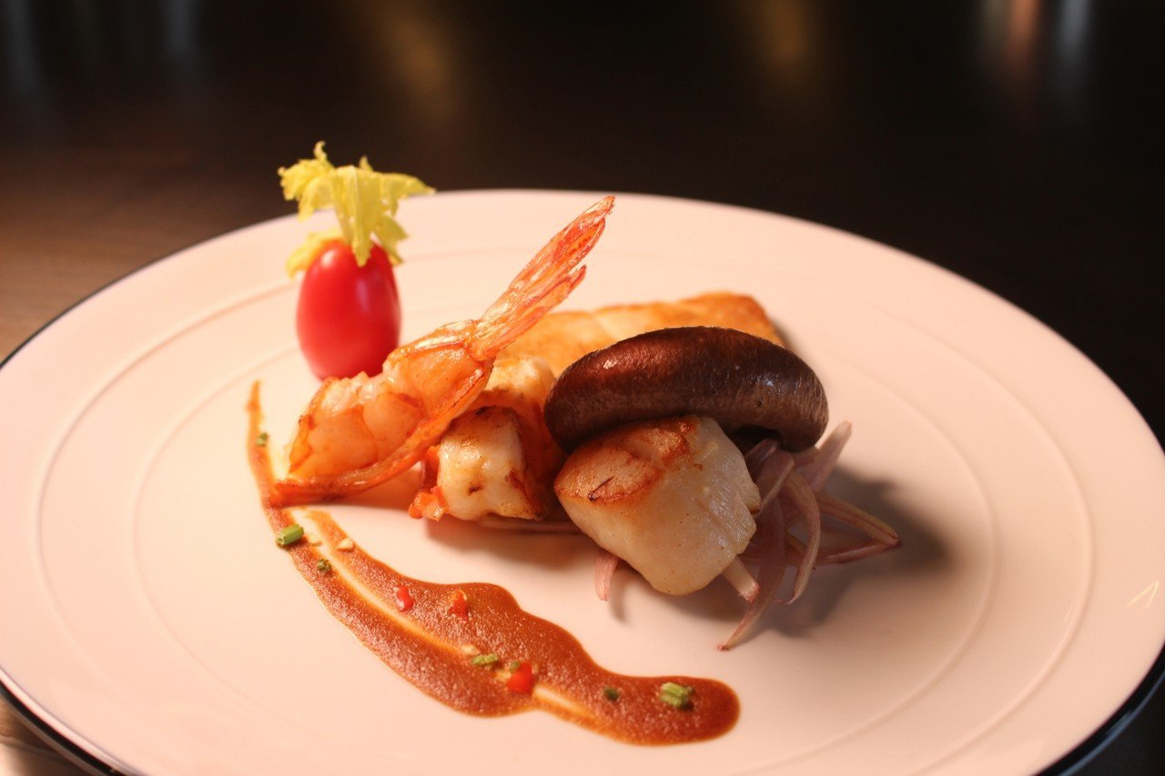 宏禧鐵板燒寶山旗艦店招牌菜「干貝香菇」。記者張雅婷/攝影