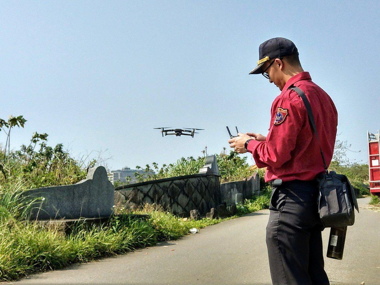 消防利用空拍機掌握燃燒範圍。圖/消防提供