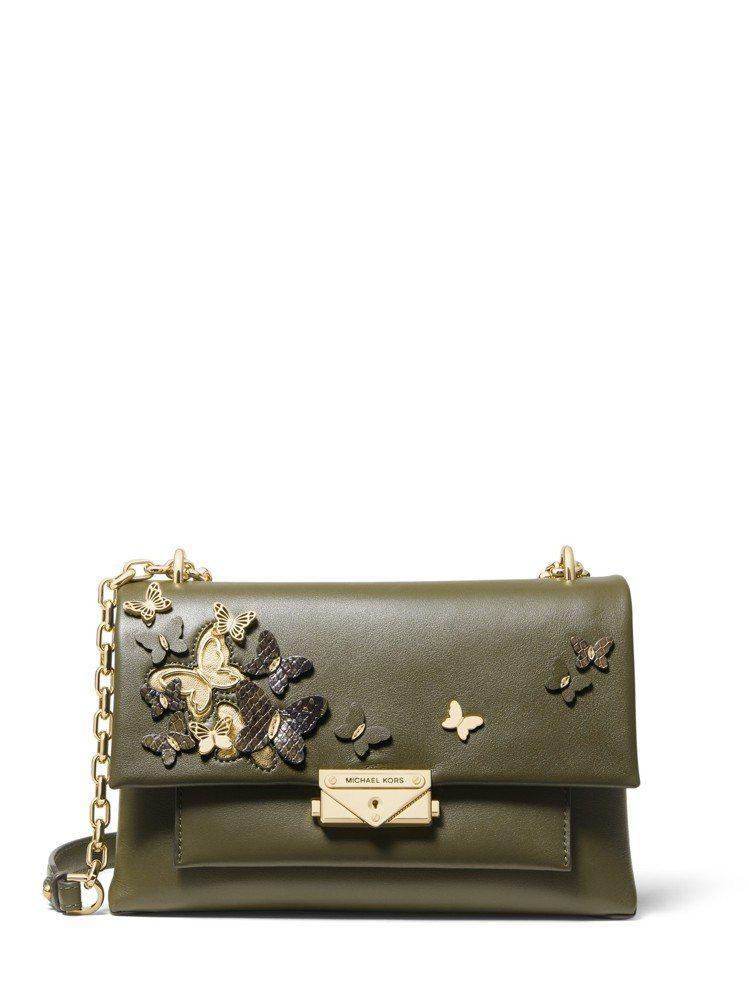 CECE橄欖綠蝴蝶刺繡鍊帶肩包,售價22,500元 。圖/MICHAEL KOR...