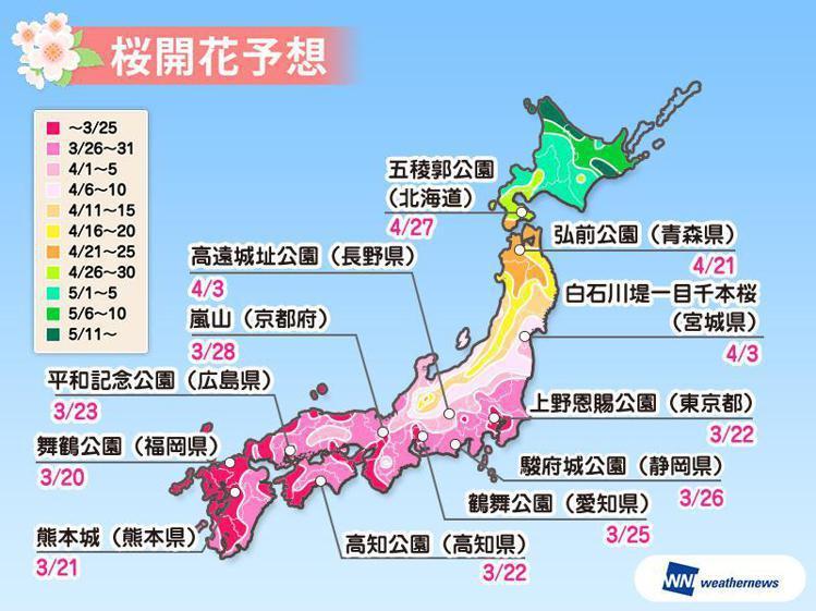 日本人氣賞櫻景點估計開花時間。圖/擷取自weathernews官網