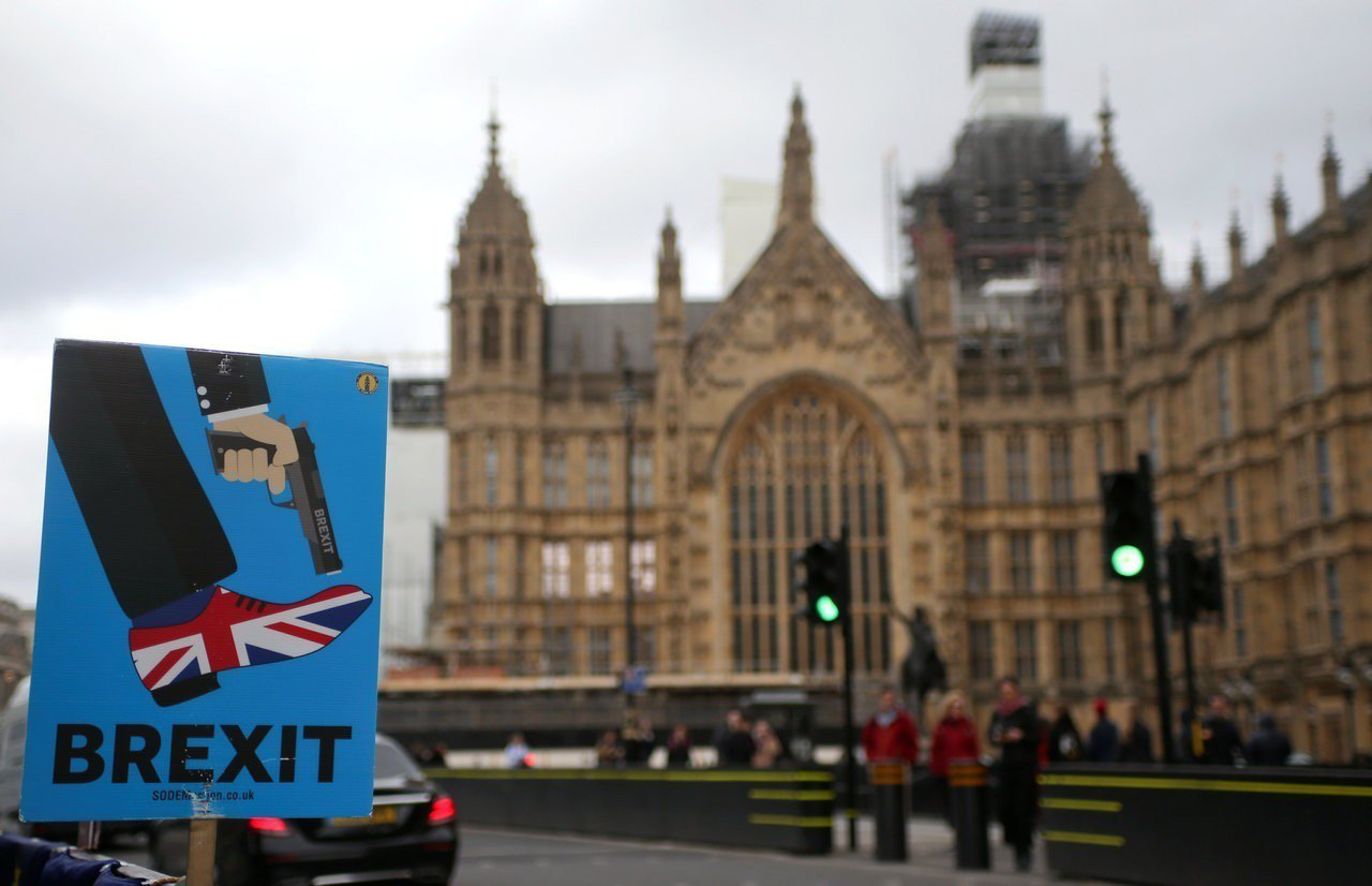 英國國會否決無協議脫歐一案。路透社