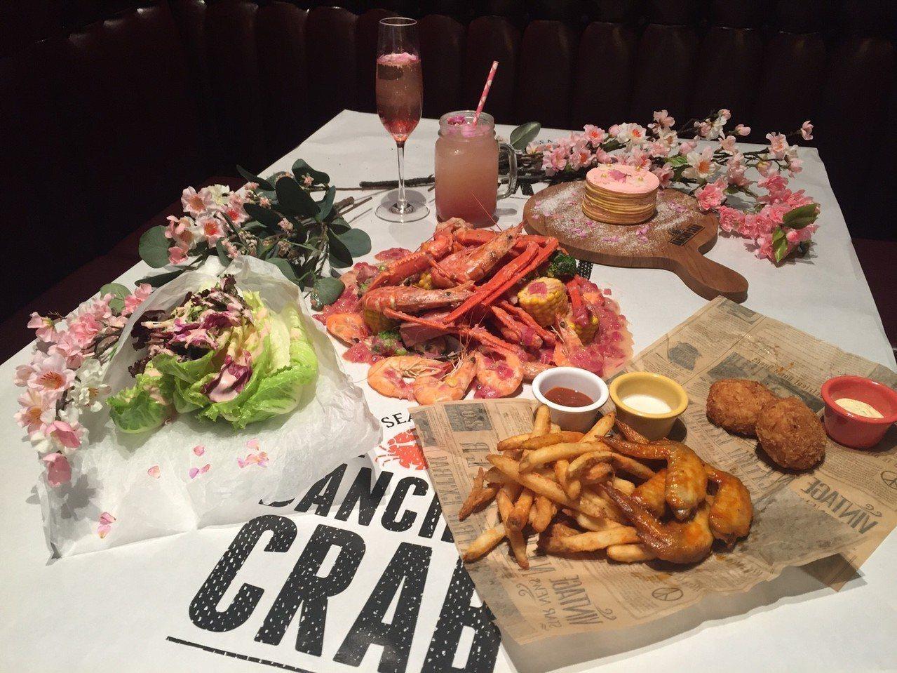 蟹舞期間限定推出「粉紅櫻花派對餐」,雙人價2,200元。圖/蟹舞提供