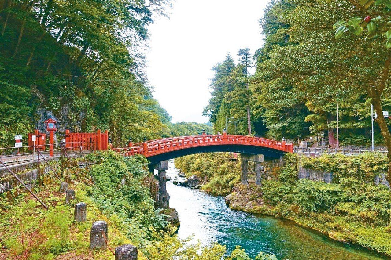 日本三大奇橋之一的「神橋」。 圖/聯合報系資料照片