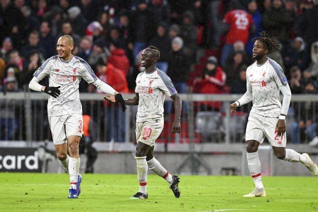 利物浦在歐冠以3比1大勝德甲拜仁慕尼黑挺進8強。 美聯社