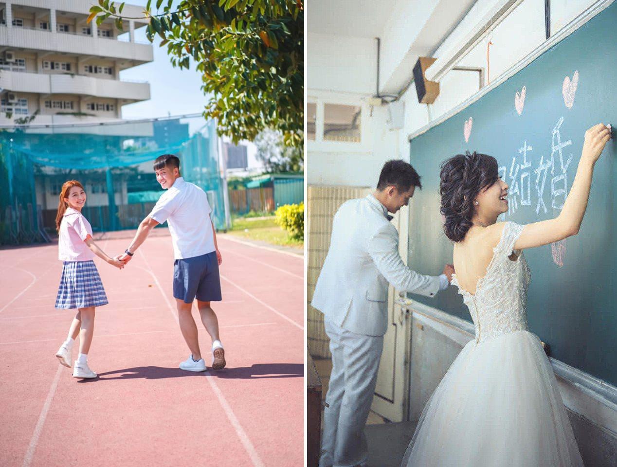 這對從國中開始交往的情侶,經過15年後終於修成正果,並重回國中校園拍攝婚紗照。 ...