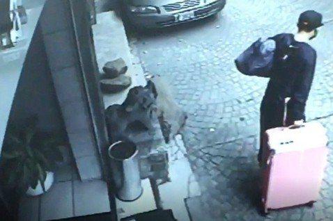 監視器拍到陳同佳拖著裝有女友遺體的粉紅行李箱離開旅館。 圖/聯合報記者翻攝