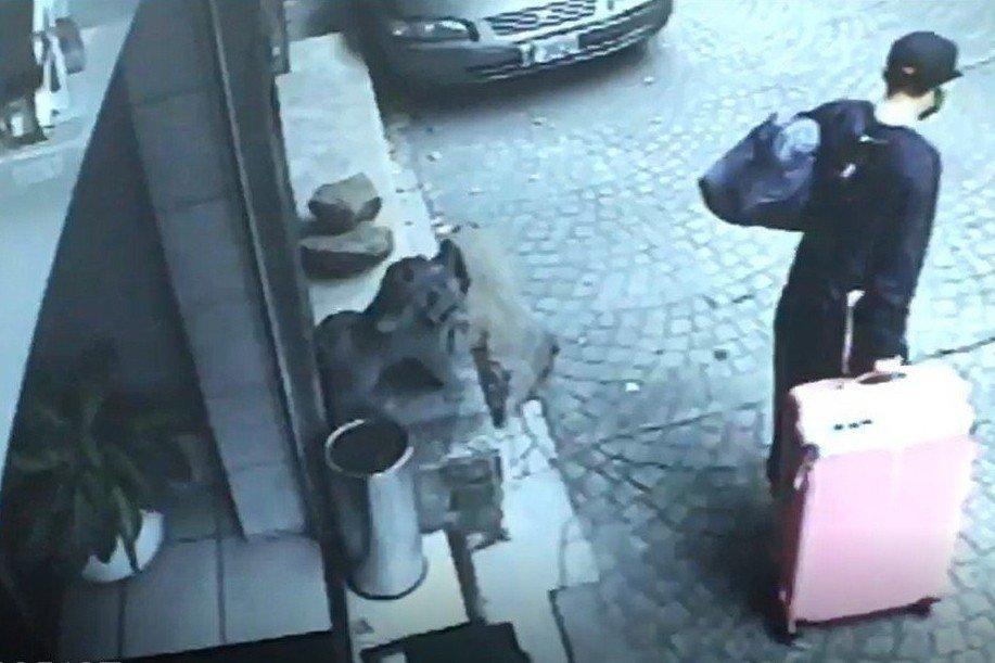 監視器拍到陳同佳托著裝有女友屍體的粉紅行李箱離開旅館。 圖/聯合報記者翻攝