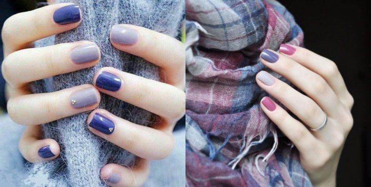 在挑選紫色調指彩時,膚色較黃、較健康者選擇最淺或最深的紫色較適合。圖/ pint...