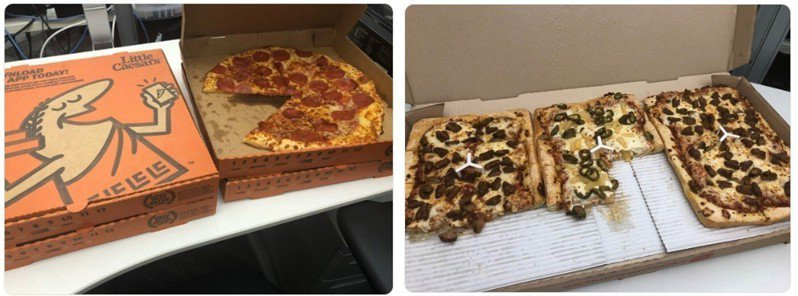 這披薩......吃不完吧?/圖:推特