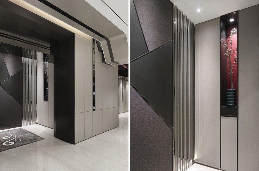 (圖)入門處即用線條勾勒出壁龕的型款,當中植入梅枝瘦盆,明瞭點出空間氛圍。