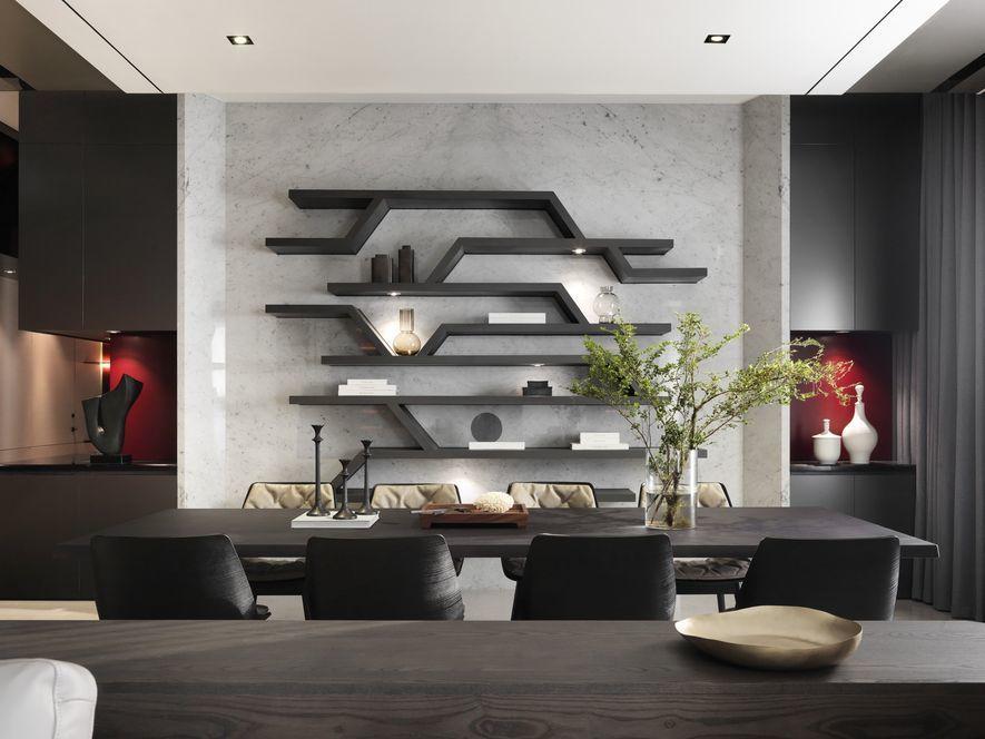 (圖)用餐區與起居區牆面設計採用相稱的配置及色度。