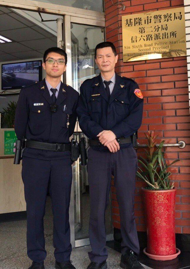 警員簡慈侯、何峻安獲報立即到場處理,成功攔阻一起詐騙案。圖/警方提供