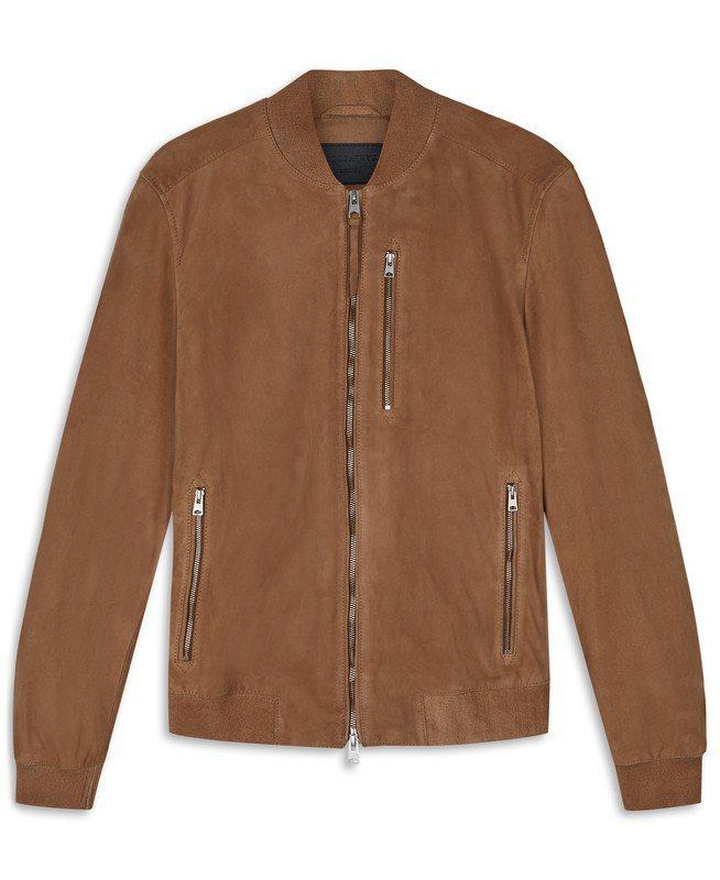 ALLSAINTS Kemble麂皮飛行員夾克,18,500元。圖/ALLSAI...