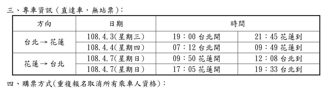 花蓮縣府清明連假返鄉返工專車共有4列次,需網路訂票。圖/縣府提供