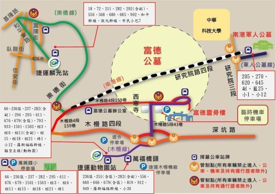 圖3:富德及軍人公墓交通管制圖。圖/台北市交通局提供