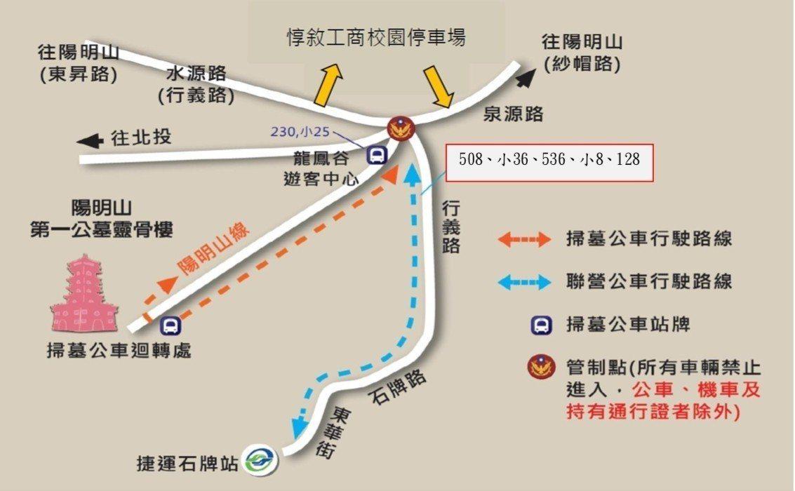 圖4:陽明山第一公墓交通管制圖。圖/台北市交通局提供