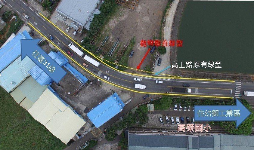 楊梅高上路於高榮國小段徵得地主同意,將規畫截彎取直工程。圖/桃園市政府交通局提供