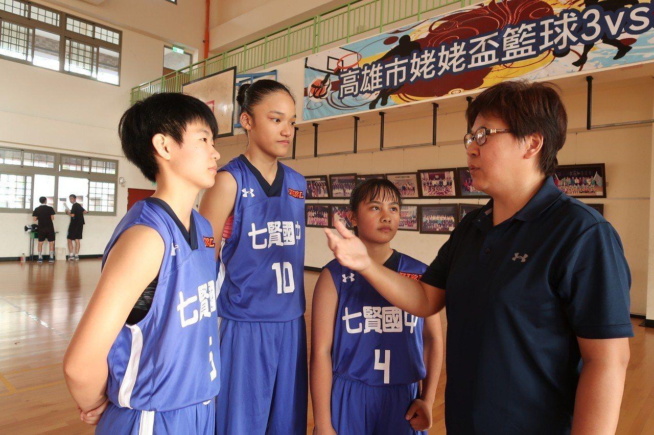 教練唐敏華(右一)對球員陳嬿恩、蕭豫玟、翁婕怡(左一至三)耳提面命。記者徐如宜/...