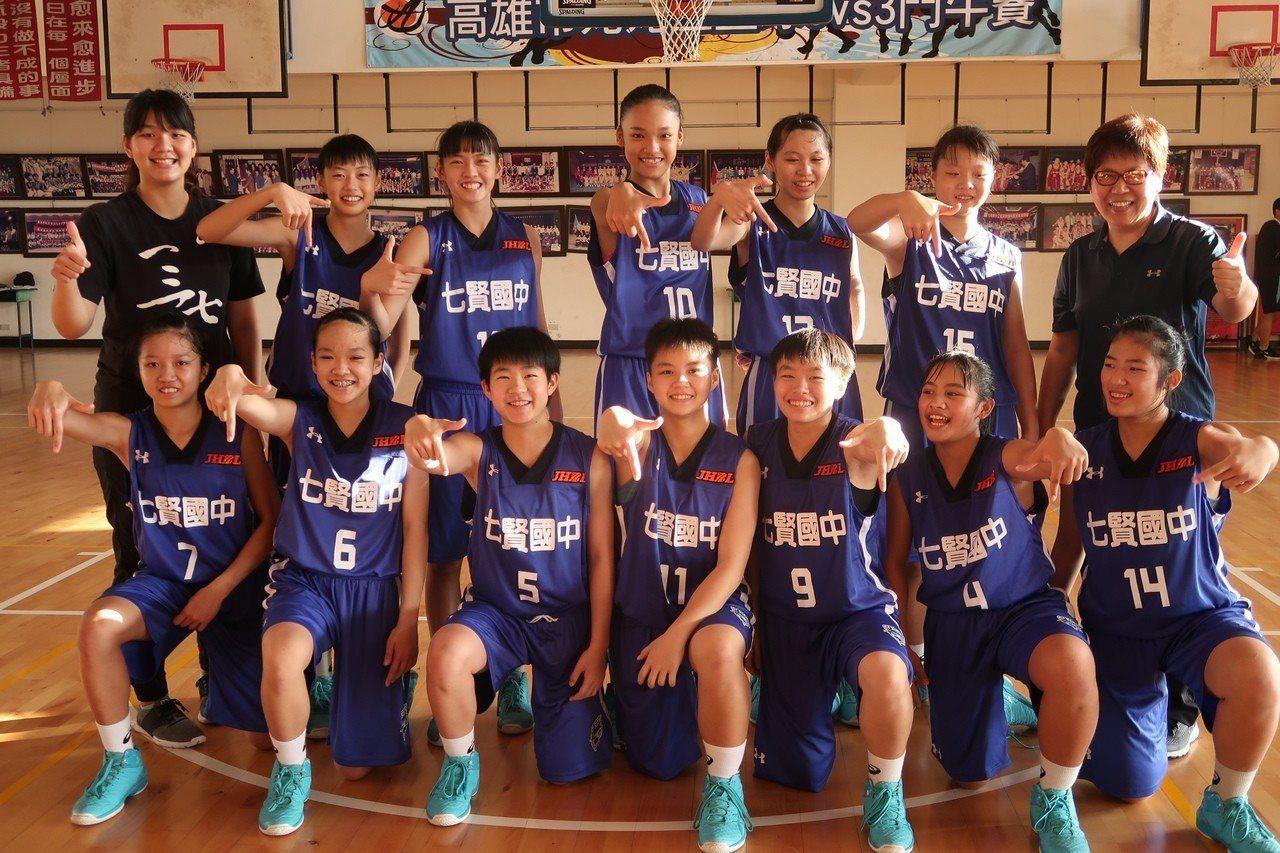 七賢國中女籃教練領著107學年度國中聯球聯賽女生甲級球員,信心滿滿挑戰JHBL八...
