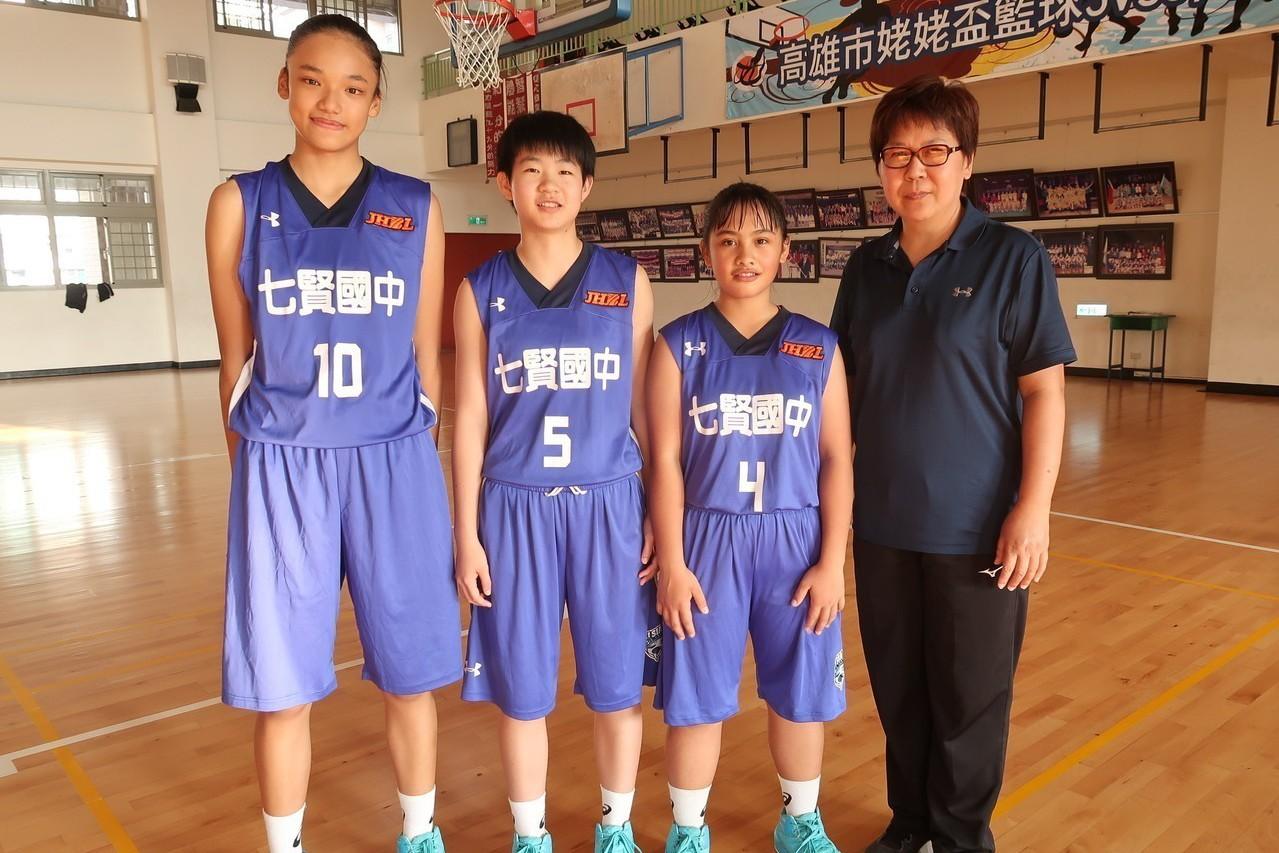 教練唐敏華(右一)對球員陳嬿恩、蕭豫玟、陳嬿恩、翁婕怡(左一至三)耳提面命。記者...