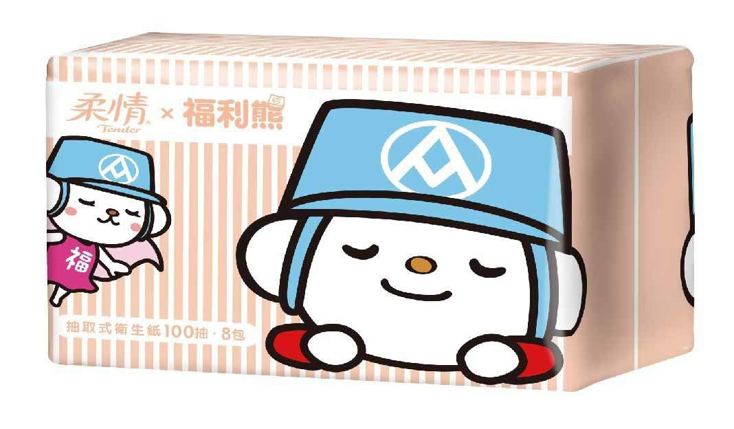 柔情福利熊包裝的抽取式衛生紙(100抽*8包)149元。圖╱全聯提供
