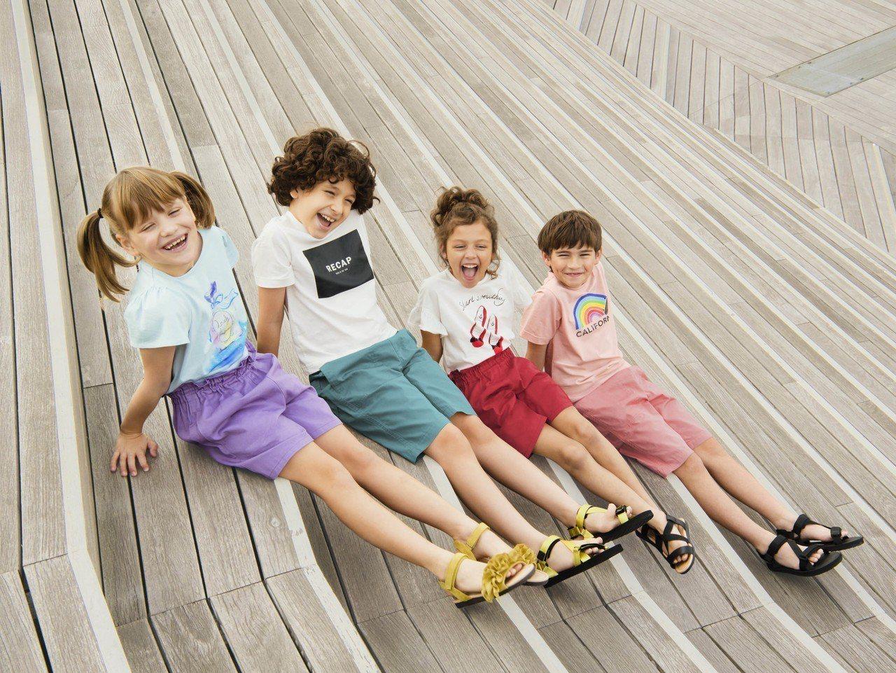 夏日童裝輕便短褲褲裙系列,期間限定價190元起。圖/GU提供