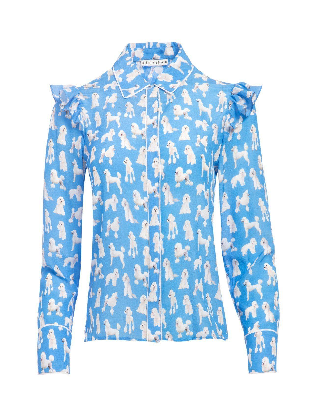 貴賓狗印花襯衫,13,900元。圖/Alice+Olivia提供