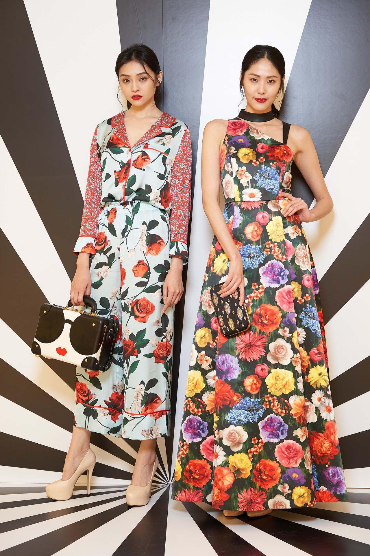 (左)玫瑰花卉印花拼接襯衫12,500元、玫瑰花卉印花寬管褲12,500元、St...