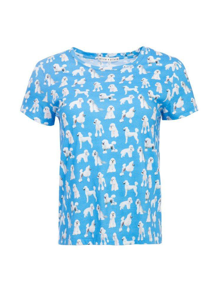 貴賓狗印花T恤,8,500元。圖/Alice+Olivia提供