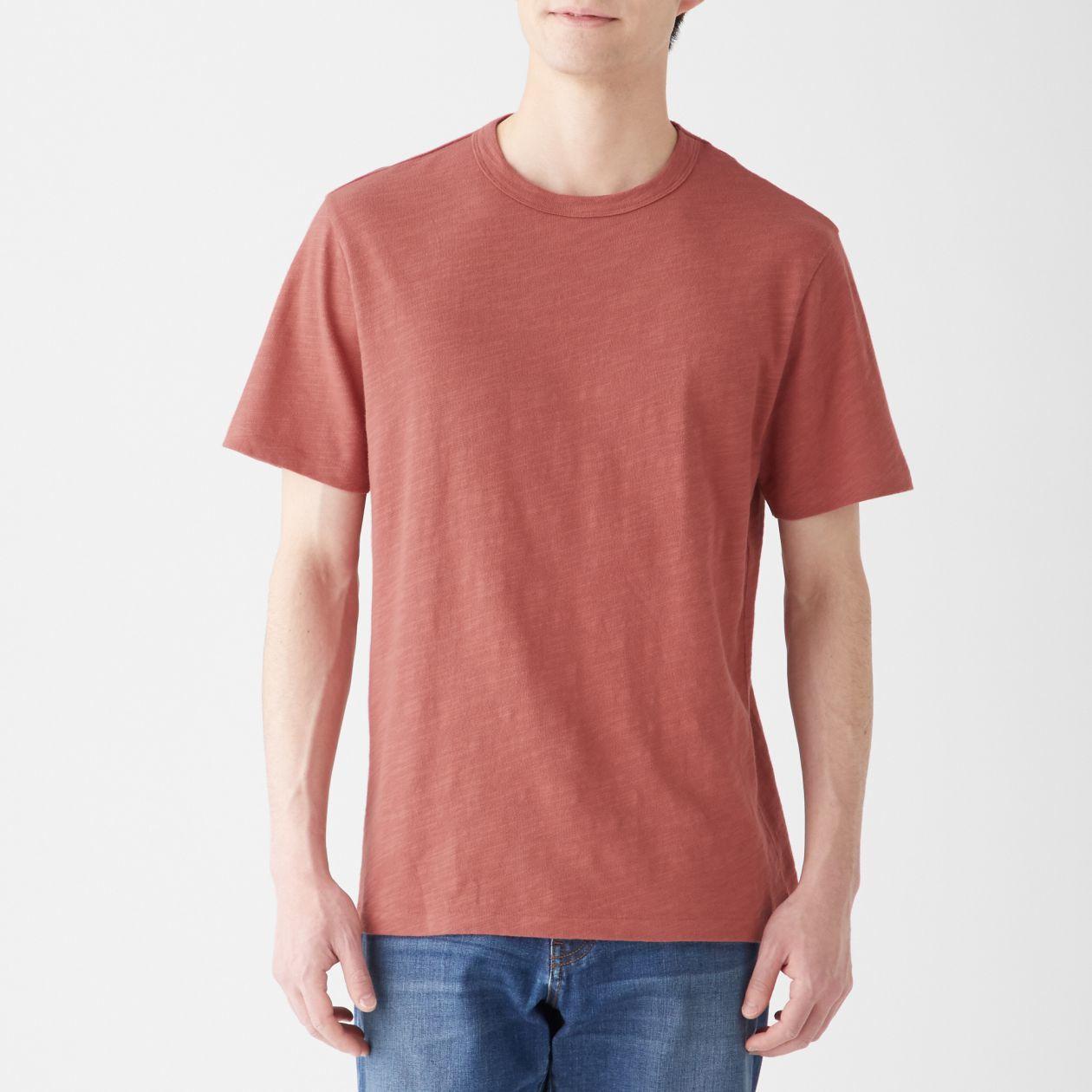 MUJI無印良品男印度棉節紗圓領短袖T恤,從原價650元調降為450元。圖/無印...