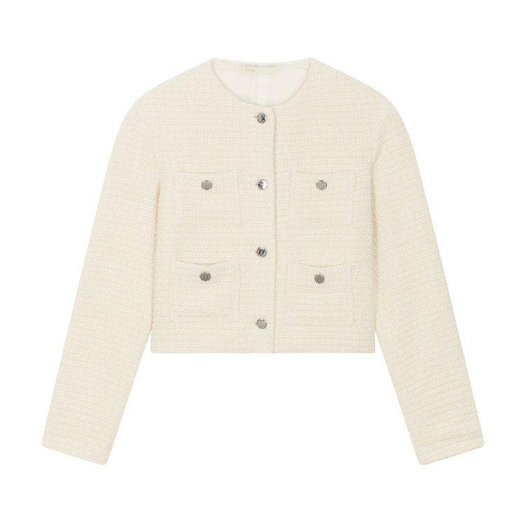 Maje白色毛呢短版外套,售價12,750元。圖/Maje提供