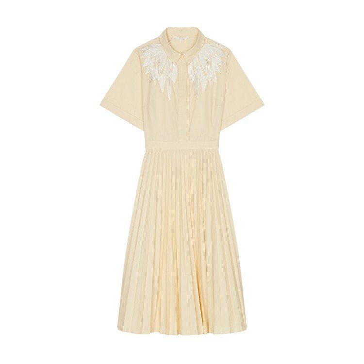 Maje鵝黃色羽毛圖騰百褶洋裝,價格店洽。圖/Maje提供