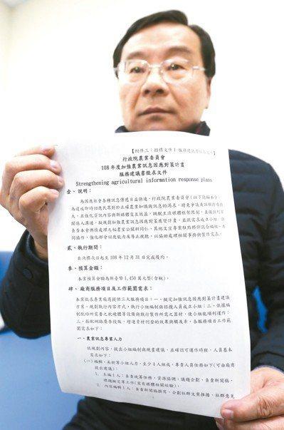立委曾銘宗抨擊農委會「加強農業訊息因應對策計畫」是「買網軍」。 記者曾學仁/攝影