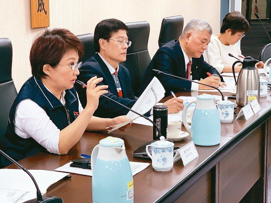 立法院財政委員會昨天針對台中前瞻軌道建設進行考察,市長盧秀燕(左起)、立委羅明才...