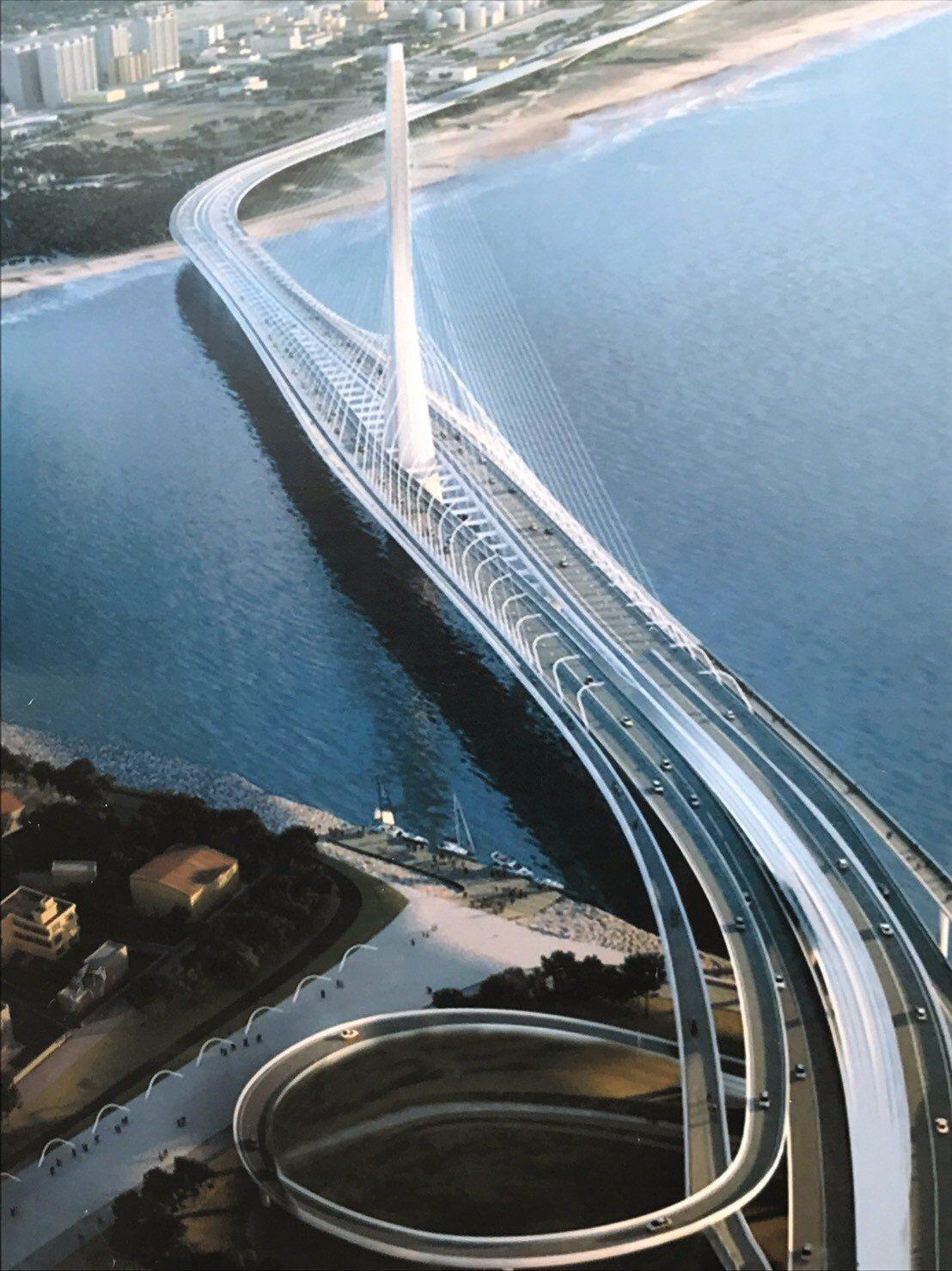 淡江大橋模擬圖,主橋段昨動工,預計2024年完工通車。圖/新北市交通局提供